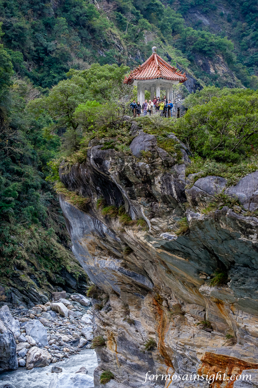 A group of tourists take in the geological marvel of Taroko Gorge, Hualien County, Eastern Taiwan